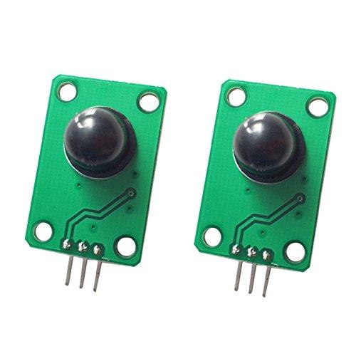 DollaTek 2PCS Detector infrarrojo piroeléctrico Cuerpo Humano Que detecta el módulo del Sensor de Movimiento de PIR para la Lente óptica Negra de Pare Arduino MCU 011050