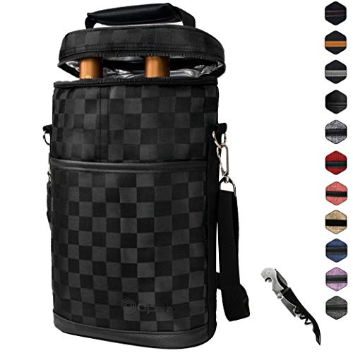 OPUX 2 Bottle Wine Tote Carrier | Insulated Wine Cooler Bag for Travel Picnic BYOB | Portable Wine Carrying Bag, Padded Protection, Shoulder Strap, Corkscrew Opener - Checker Black