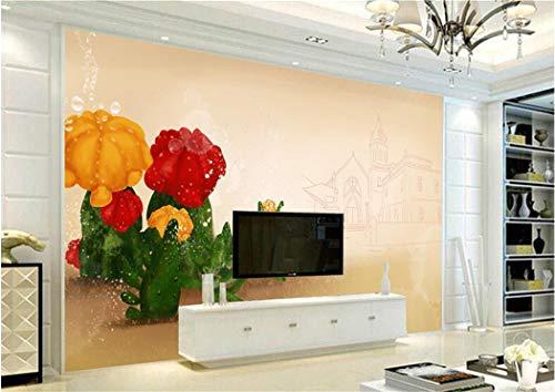 Papel Pintado Mural Personalizado 3D Cactus Lindo Wallpaper Desierto Estética Revestimiento De Pared Decoración Para El Hogar Pintado A Mano Edificio