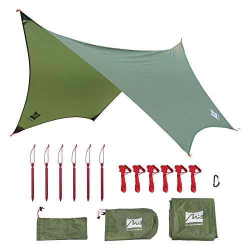 MIS 11 ft x 9 ft Hammock Rain Fly, Hex Green Camping Tarp Waterproof, Backpacking Tent Footprint and Multifunctional Sun Shade Shelter Canopy – 4 in 1 Perfect for Survival Picnic Hiking