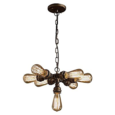 OYI Industrial Steampunk Chandeliers, 7 Lights Rustic Water Pipe Style Adjustable Metal Sputnik Pendant Light Ceiling Lighting Fixture E26