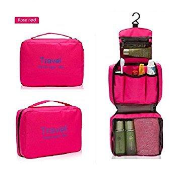 Exoh Portable Unisexe de luxe à suspendre Sac pliable Sac de maquillage Sac de randonnée Sac de sport (Rose rouge)