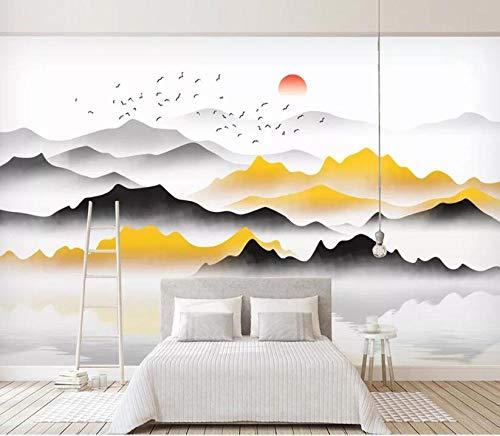 Tapete stein optik weltkarte poster selbstklebende tapeten bilder wandtattoo Goldene abstrakte Tintenlandschaftsmalerei-Wohnzimmerwand