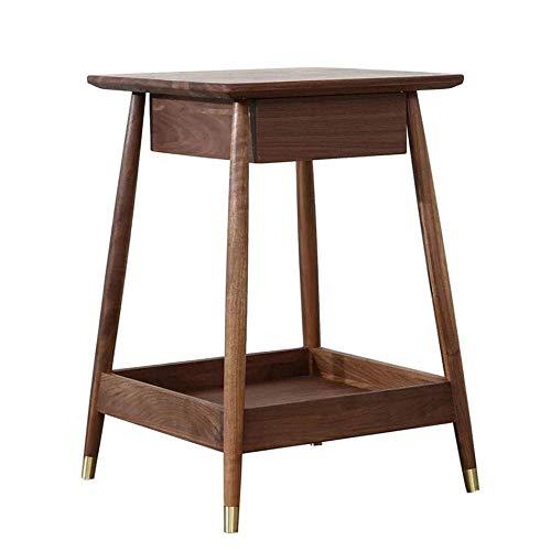 Zuzanny Nachtkastje, vierkante salontafel voor woonkamer, massief hout, bijzettafel, sofa, slaapkamer, met tweepersoonsbed, nachtkastje, kleine theetafel walnootkleur