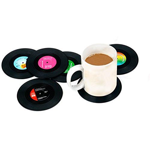 TRIXES Set mit 6 verschiedenen Retro Vinyl Getränkeuntersetzern Bierdeckel