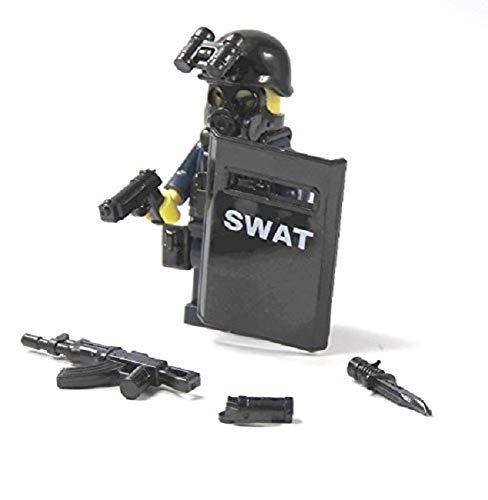 Custom Figur Polizist SWAT aus LE GO® und Custom Teilen mit Schild Zubehör Polizei City