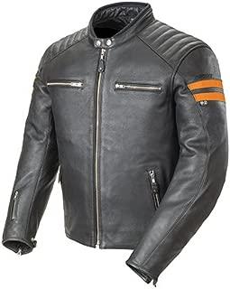 Joe Rocket Classic '92 Men's Leather On-Road Motorcycle Jacket - Black/Orange / Small