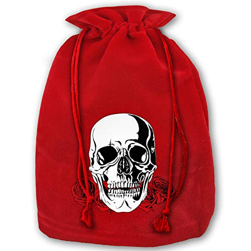 Reusable Santa Gift Skull and Rose Christmas Bags, Present Bag with Drawstring Candy Pouch Red