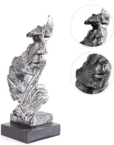 JJDSN Estatuas Modernas del Pensador, el Silencio es Oro Figuras Resina Decoracin Retro del hogar para Regalos de Oficina Sala de Estar, Esculturas faciales abstractas Bronce 34x13x12cm