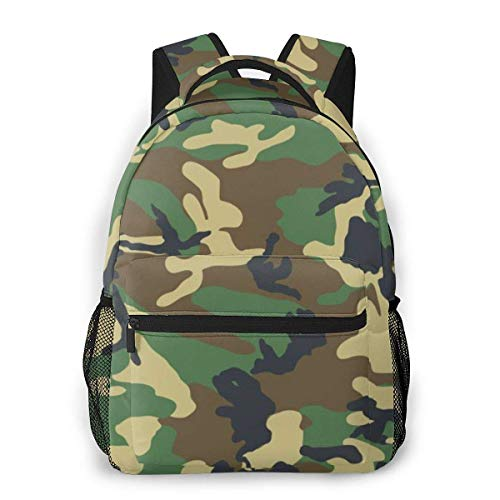 LNLN Army Green Camouflage Pattern Laptop Backpack School Backpack for Men Women Lightweight Travel Casual Durable Daily Daypack College Student Rucksack 11 5in X 8in X 16in