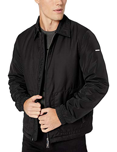 A|X Armani Exchange Men's Zip Up Bomber Style Jacket with Collar, Black, M