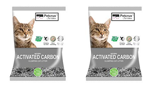 PetCrux™ Exclusive Scoopable Natural Activated Carbon Cat Litter, 5Kg (Pack of 2 - Total 10 Kg)