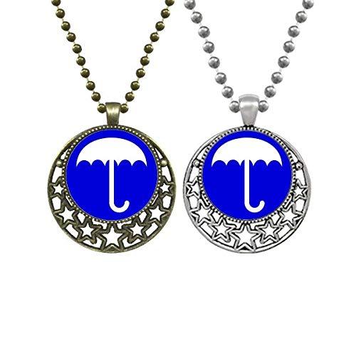 Halskette mit Anhänger in Regenbogenblau, quadratisch, Warnmarkierung für Liebhaber, Retro, Mond, Sterne, Schmuck