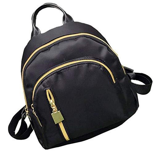 Mochila clásica casual para mujer, mochila de viaje, mochila de nailon, estilo vintage, color negro, para viajes, universidad, para mujeres y hombres
