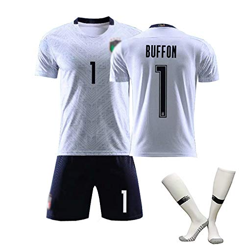 DDSC # 3 Maldini # 21 Pirlo # 1 Buffon Fußball Trikot T-Shirt Set Heimatgericht Trainings uniform Italien Weg Kinder Herren Sportswear-Top Hemd White(#1)-16