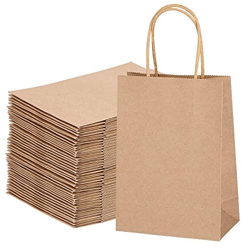 40X Sacchetti Carta con Manici Shopper Carta Borse Carta Regalo da Festa Borse di Carta con Manici Marrone per Battesimi, Feste di Compleanno, Regali, Shopping, 21x16x8cm