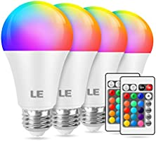 LE RGB LED Light Bulb, A19 E26 9W RGBW Color Changing Light Bulbs with Remote Control 60W Equivalent, Memory Function...