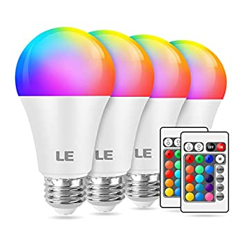 LE 9W Color Changing Light Bulbs with Remote Dimmable LED Light Bulb 60W Equivalent 806 Lumens Warm White RGB Decorative Lighting for Home Bar Party Bedroom A19 E26 Screw Base  4 Pack