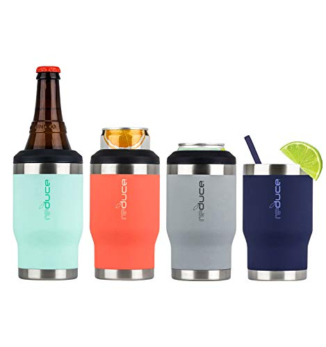 REDUCE 4-in-1 Stainless Steel Bottle and Can Insulator – Keeps Bottles, Cans, Skinny Cans and Mixed Drinks Cold – Sweat-Free, Perfect for Outdoor Drinking - Rubberpaint 4pk - Orange, Gray, Mint, Blue