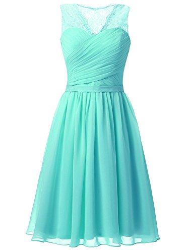 Aurora dresses Damen Abendkleider Elegant Kurz Partykleider Chiffon Ballkleid Brautjungfern Kleider(Türkis,40)