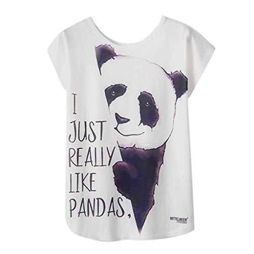 Lazzboy T Shirt Women Graffitiprintanimalflower Short Sleeve O Neck Top Size 8 14 Laides Daily Blousexl14black Panda Slogan