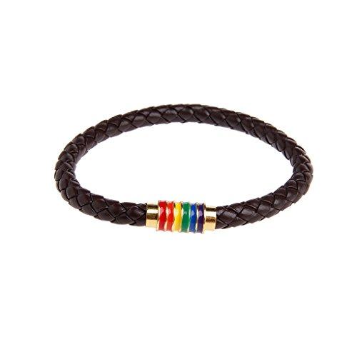 YU-HELLO _Leather Trenzado LGBT Pride Rainbow Pulseras Titanio Magnético Gay Les Jewelry