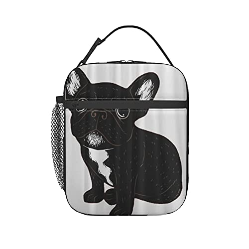 PANILUR Lunch Bag Tote Cute Brindle Frenchie Puppy,Lunch Box Cooler Insulated Lunch Tote Bag with Shoulder Strap for Adult Men Lady Outdoor School Bag Picnic Camping Travel