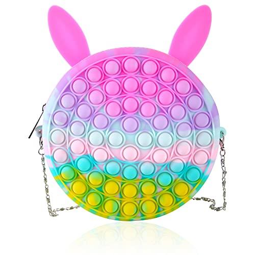 LADVCORP Pop Shoulder Bag Fidget Toys , Rainbow Simple Pop Fidget Bag Toy , Popper Pop Bubble Fidget Sensory Toys , School Supplies Backpack Silicone Bag Pop for Girls (Macaron-Rabbit)