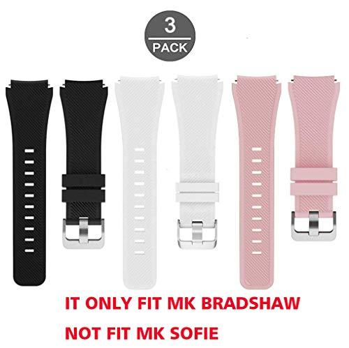 LvBu Armband Kompatibel Für Michael Kors Bradshaw, Sport Silikon Classic Ersatz Uhrenarmband Für Michael Kors Access Bradshaw Smartwatch (3 Pack-a)
