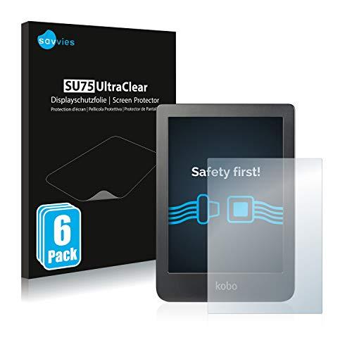 "savvies Protector Pantalla Compatible con Kobo Clara HD (6"") (6 Unidades) Pelicula Ultra Transparente"