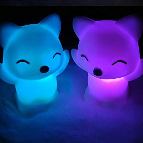 Fox forme LED veilleuse maison chambre bureau 7 changement de couleur mignon lampe de chevet décorative, White2pcs