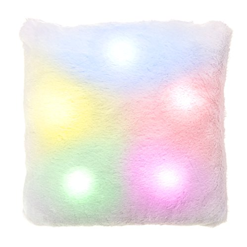 WICKED GIZMOS  Colour Changing Mood Pillow - Super Soft and Comfortable SQUARE Shaped Plush Cushion with 7 Relaxng Glowing Colours from 10 Magical Energy Efficient Sensory LED Lights (Square)