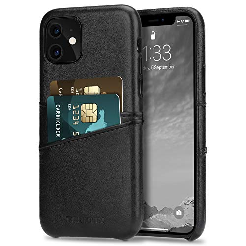 TENDLIN Funda iPhone 11 Carcasa de Cartera de Cuero Premium con 2 Ranuras para Tarjetas (Negro)