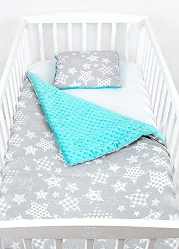 BABYLUX Babydecke Krabbeldecke MINKY Kuscheldecke Decke 75 x 100 cm mit KISSEN 30x35cm (1K. Minze + Sterne)
