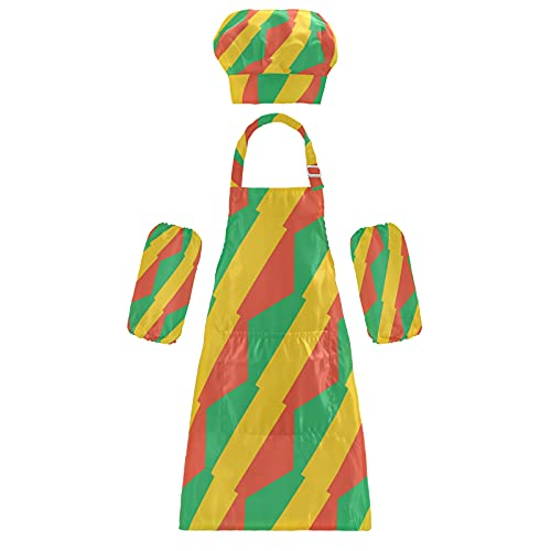 Kongo Brazzaville Flagge Kinder Schürzen Chef Hüte Ärmel Set Kinder Verstellbare Kochschürze mit Tasche zum Kochen, Backen, Malen, mehrfarbig, S