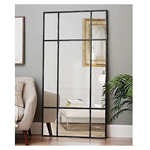 DIREKTE IMPORT Standspiegel mit Schwarz antik Metallrahmen 180x90cm| Ganzkörperspiegel Designed in Dänemark | Wandspiegel groß für Wohnzimmer oder Ankleidezimmer