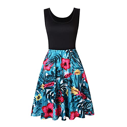 LaiYuTing Women Sleeveless O-Neck Print Dress Casual Sweet Vintage Floral A-Line Party Dress Summer Beach Dress