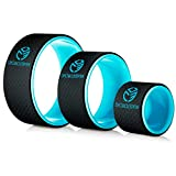 UpCircleSeven Yoga Wheel Set - Strongest & Most Comfortable Dharma Yoga Prop Wheel, 3 Pack for Back Pain Stretching & Backbends (12, 10, 6 inch) (Blue)