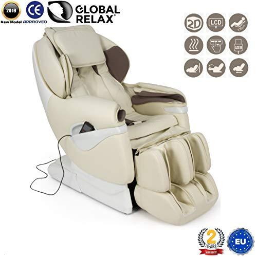REBAJAS -160€ l SAMSARA Sillon de masaje 2D - Beige (modelo 2019) - Sofa masajeador electrico de relax con shiatsu - Silla butaca con presoterapia, gravedad cero, calor y USB - Garantía 2 Años