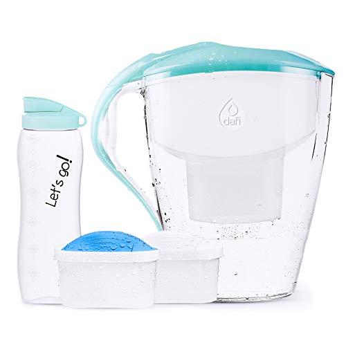 DAFI Astra Jarra de Agua Filtrada 3L con 2 cartuchos + Botella del Agua Deporte 0.6L, Sin BPA, Menta