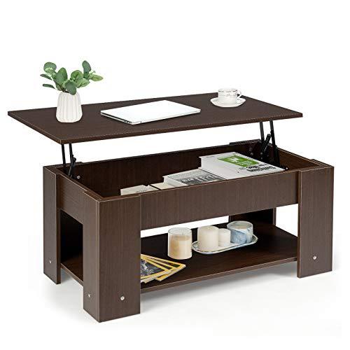 GOPLUS Couchtisch Höhenverstellbar, Esstisch mit Integriertem Fach, Kaffeetisch mit 2 Ablagen, Beistelltisch mit Großer Tischplatte, Sofatisch aus Holz, für Wohnzimmer, Büro und Cafés (Braun)