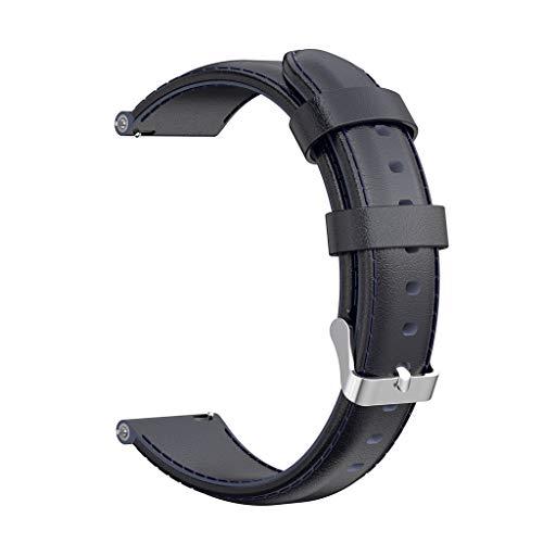 Leder Uhrenarmband kompatibel mit Huawei Talkband B5 Ersatzband, 18MM Ersatzarmband Uhrenarmband Fitness Sport Replacement Armband Watch Band Bracelet Ersatz Armbanduhr (Blau)