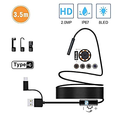 USB Endoscope Type C Borescope Inspection Camera, 2.0 MP HDCamera with 8 LEDs for Android Smartphone and Windows Devices by Stylustar (11.5FT)