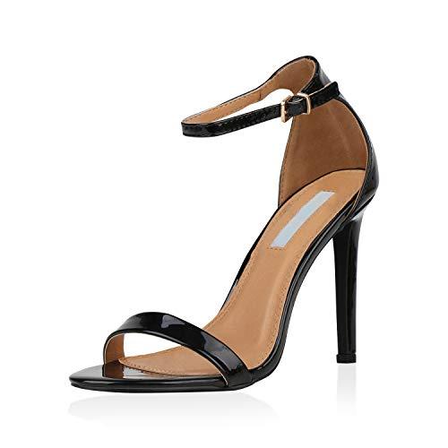 SCARPE VITA Damen Sandaletten High Heels Elegante Abendschuhe Basic Stilettos 157810 Schwarz 38