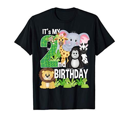 It's My 2nd Birthday Party Jungle Safari Zoo Theme Bday Maglietta