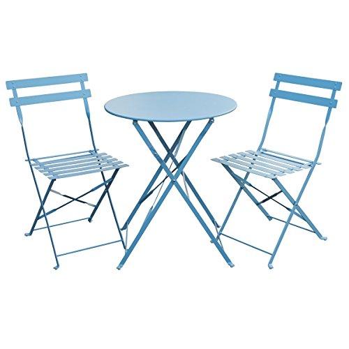 SVITA Bistro-Set 3-teilig Gartenset Garnitur Metall-Möbel Stuhl Tisch Kapp-Möbel Balko-Set Blau Weiß Schwarz Grau (Blau)