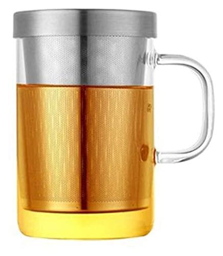 Youdert 19.3 Once Tazza di Vetro, Grande Tazza di tè in Vetro borosilicato con infusore in Acciaio Inox, per caffè per Ufficio caffè, Cappuccino, tè, Cacao, Cereali, Cioccolata Calda