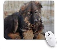 MISCERY マウスパッド ジャーマン・シェパード犬子犬かわいい 高級感 おしゃれ 防水 端ステッチ 耐久性が良い 滑らかな表面 滑り止めゴム底 24cmx20cm