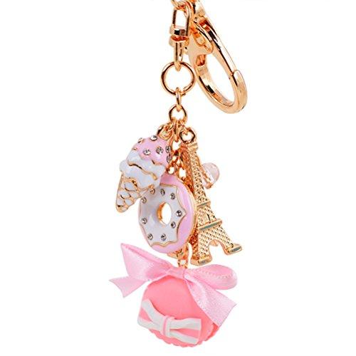 BESTOYARD Kuchen Dessert EIS Eiffelturm Bowknot Anhänger Keychain Tasche Geldbörse Schlüsselanhänger (Pink)