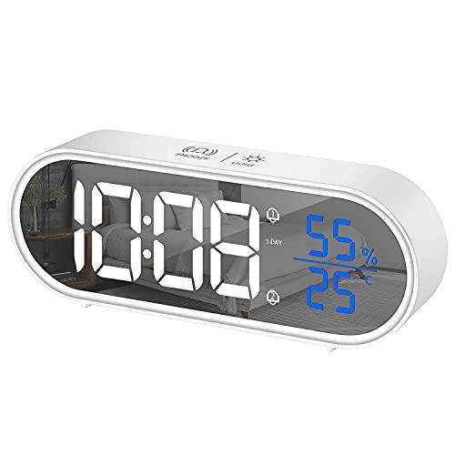 HOMVILLA Reloj Despertador Digital, LED Pantalla Reloj Alarma Inteligente Electrónicos con Temperatura Humedad, 2 Alarma, Snooze, Modo Fin de Semana, Despertado, Sonido y Brillos Regulable, Blanco